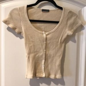 Brandy Melville fitted ribbed crop top one size